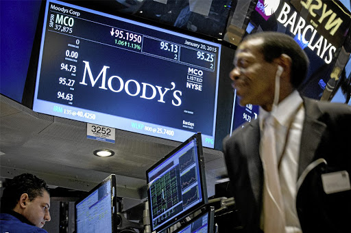 Downbeat: A screen displays Moody's ticker information at the New York Stock Exchange in this file photograph. Moody's has projected SA's real GDP growth at 0.5% in 2017, rising to 1.2% in 2018 – both below Treasury projections of 1.7% and 2%, respectively. Picture: REUTERS