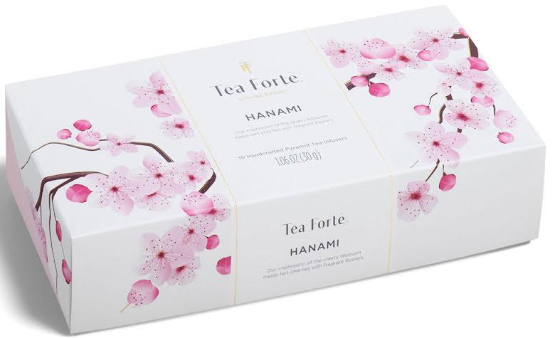 Hanami pyramidte presentask  körsbär och grönt te – Tea Forté