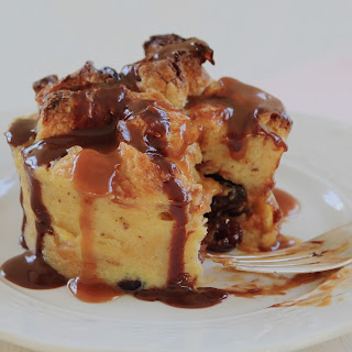 Individual Croissant Bread Puddings with Chocolate and Caramel Sauces