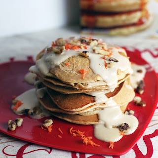 Carrot Cake Pancakes with Brown Sugar Cream Cheese Icing
