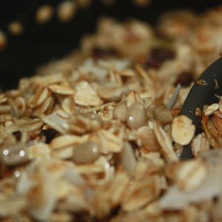 Granola With Seeds And Coconut Flakes.