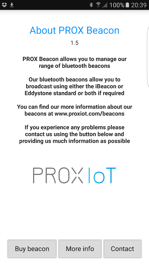 PROX Beacon- screenshot
