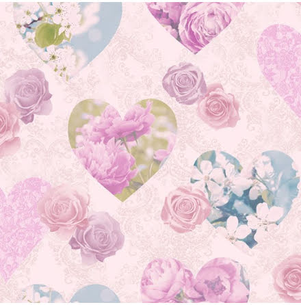 Fine Decor Floral Hearts Tapet