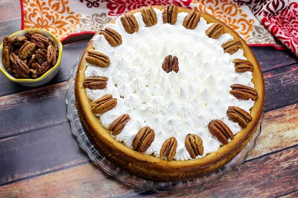 Pecan Pie Cheesecake Ready To Be Sliced.