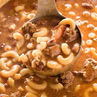 Crockpot Cheesy Chili Macaroni Soup.