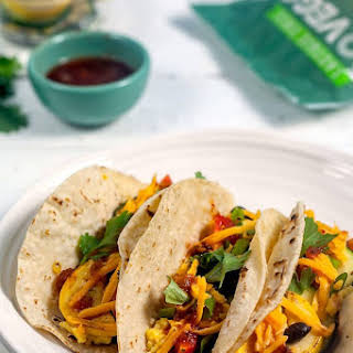 Summer Vegetable Breakfast Tacos with Soft Scrambled Eggs.