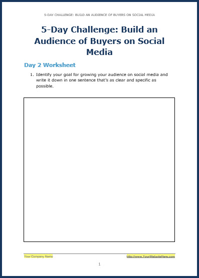 Build Your Audience Using Social Media - Bonus Challenge Worksheet 2