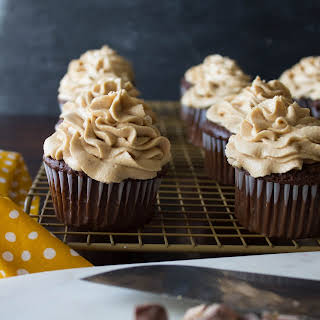 Chocolate Cupcakes with Peanut Butter Cream Cheese Frosting and Candy.