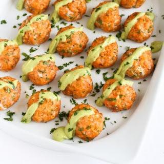 Baked Salmon Meatballs with Creamy Avocado Sauce.