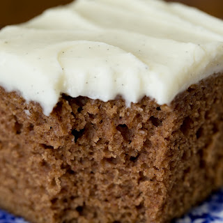 Easy, One Bowl Gingerbread Cake with Vanilla Bean Icing.