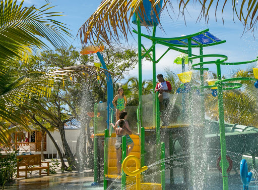 The water park at Harvest Caye, a pristine 75-acre playground in southern Belize.
