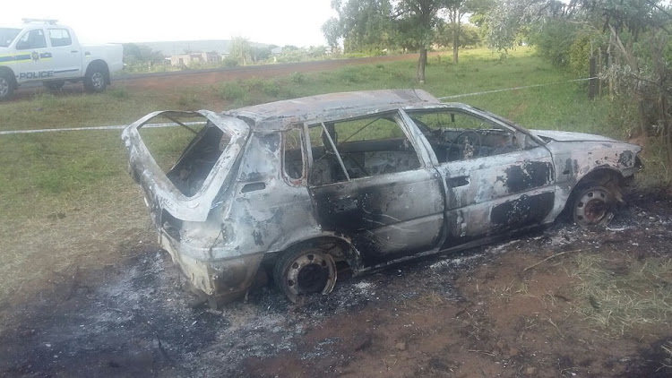 A man and a woman were kidnapped and shot before being burnt inside the boot of a Toyota Tazz near Matiyani village along the Punda Maria road outside Malamulele on Monday afternoon. Image: SAPS