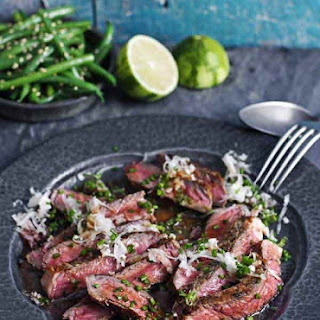 Rib-eye Steak With Daikon and Ponzu Dressing.