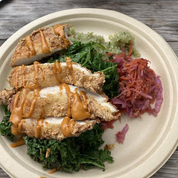 Thunderbowl - GF fried chicken, harissa aioli, kale, rice, fermented veggies