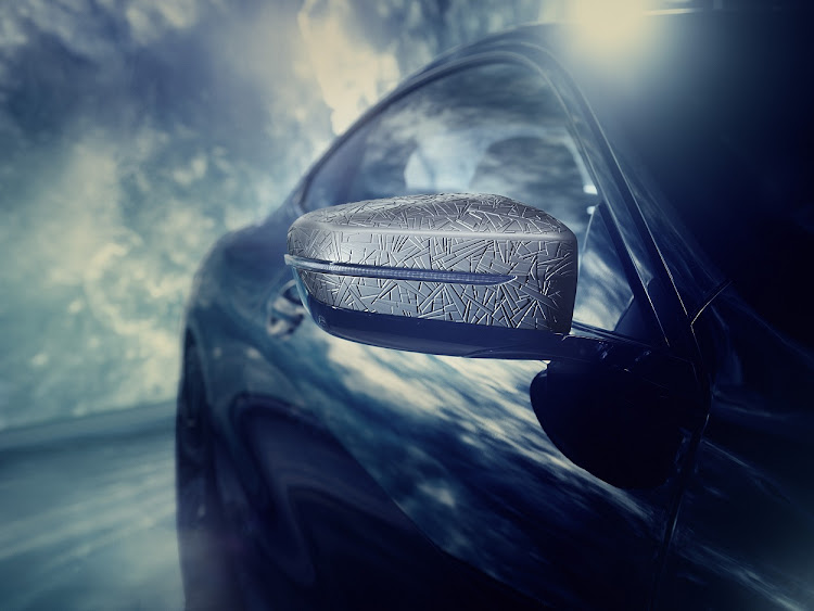 Intricate meteoritic pattern adorns wing mirrors. Picture: SUPPLIED