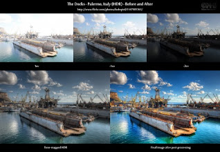 """Photo: HDR Processing - Before and After  This is the before-and-after comparison of one of my most popular images on flickr - """"The Docks - Palermo, Italy (HDR)"""". Go to the flickr photo page at http://flic.kr/p/8QUmUZ to see the entire process of making this.  Also visit the before-and-after section of my HDR Cookbook at http://wp.me/pZoHG-8d where there are many more comparisons of this type.  Cheers"""