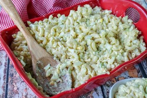 """Mom's Macaroni Salad """"Elbow macaroni, celery, sweet relish, and hard-boiled egg make..."""