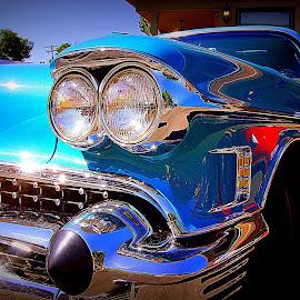 The American Car by Ivan Cohene - Transportation Automobiles ( #bluecadillac, #bumper, #headlight, #automobile, #car, #caddii, #americancar, #blue, #auto, #caddy, #bluecar, #fins, #reflections, #cadillac,  )