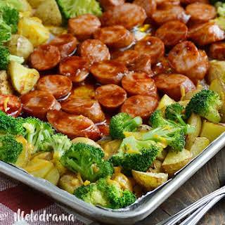 Sheet Pan BBQ Smoked Sausage Dinner.
