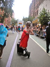 Photo: The Heritage of Pride gay pride march, Christopher Street between Bleecker and Bedford streets, Greenwich Village, 26 June 2011. (Photograph by Elyaqim Mosheh Adam.)