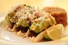 Steak tacos with guacamole, corn salsa, chipotle sour cream & Spanish rice