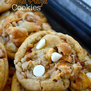 White Chocolate Caramel Pretzel Cookies