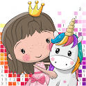 Princess pixel art coloring: color by number icon