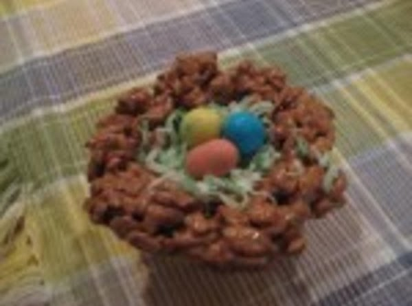 Fill center with green coconut and top with three different colored robins eggs.  Let cool....