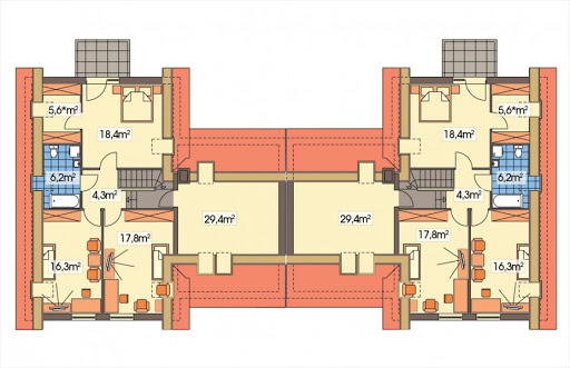 Cyprys bliźniak wersja B 2G, 2 ściany między segm. - Rzut poddasza