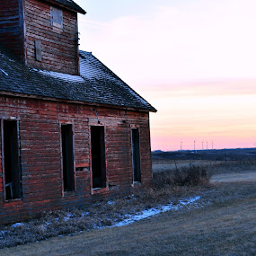 worn down abandoned barn by Katelynn Nielsen - Buildings & Architecture Decaying & Abandoned ( field, building, old, barn, sunset, rustic, forgotten, abandoned )