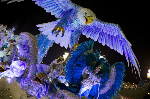 Rio-Carnival-eagle-dancers.jpg - Nature is celebrated in this Carnaval float in Rio de Janeiro.