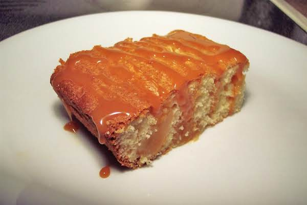 White Cake With Apple Pie Filling And A Caramel Drizzle!