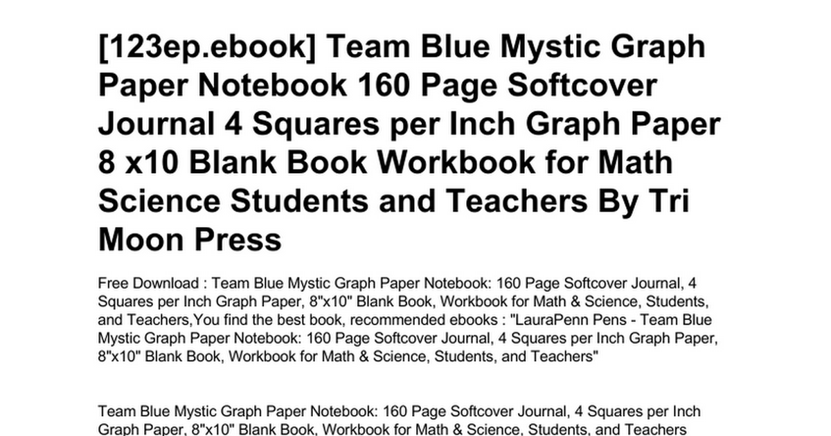 team blue mystic graph paper notebook 160 page softcover journal 4