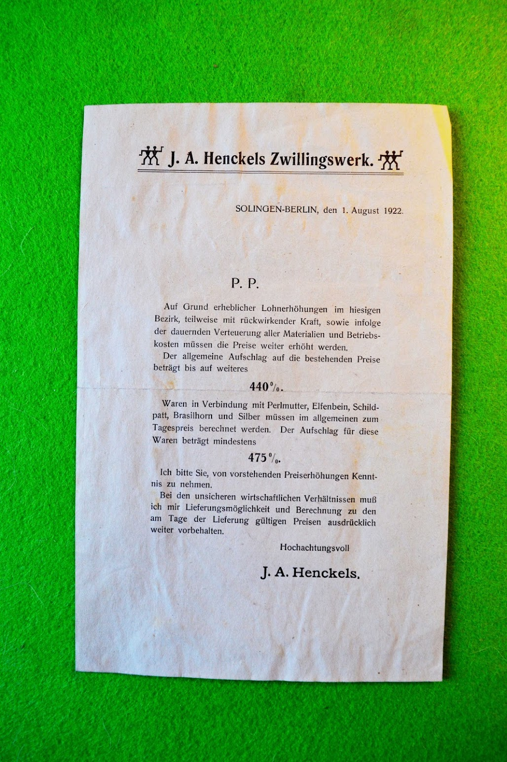 Inflation 1922 - Preisanpassung - J. A. Henckels Zwillingswerk