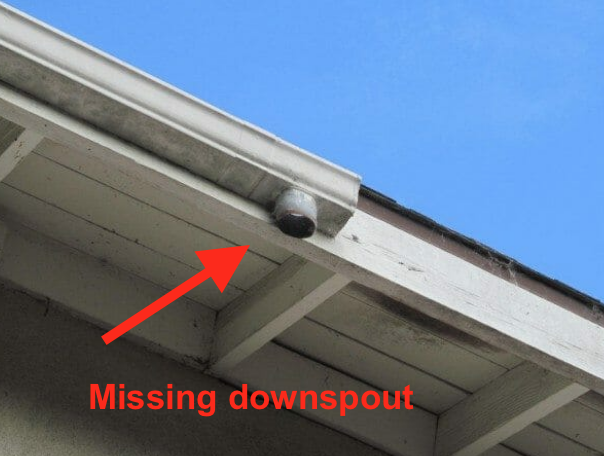gutter missing downspout