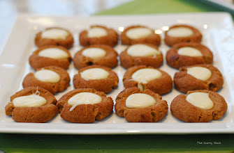 Photo: These white chocolate gingerbread thumbprint cookies were made by Lisa.