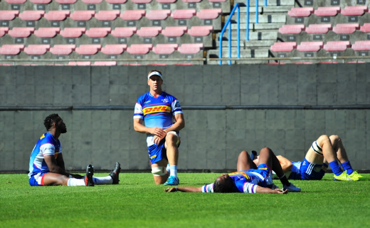 Chris van Zyl (c) during the DHL Stormers training session and press conference at Newlands Stadium on May 10, 2018 in Cape Town, South Africa.