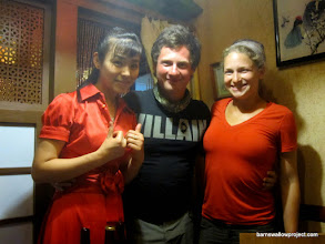 Photo: Liz and Georgy pose with our waitress...who is likely a recent immigrant from North Korea, according to Lonely Planet
