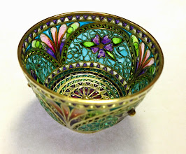 Photo: Plique-à-Jour Enamels by Diane Echnoz Almeyda - Violets Bowl #023 11/98 - 18K Gold, Plique-à-Jour Enamels - Approximate size 33mm (h) x 48mm (diam) - $6500.00 US