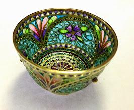 Photo: Plique-à-Jour Enamels by Diane Echnoz Almeyda - Violets Bowl #023 11/98 - 18K Gold, Plique-à-Jour Enamels - Approximate size 33mm (h) x 48mm (diam) - $6500.00 US