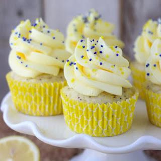 Lemon Poppy Seed Cupcakes with Quick Lemon Mousse.