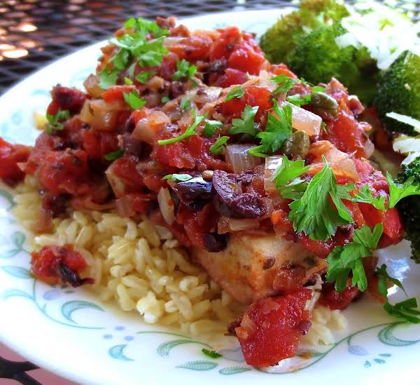 Cod With Tomatoes, Olives, And Capers