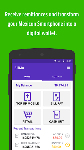 BillMo Money Transfer & Wallet screenshot