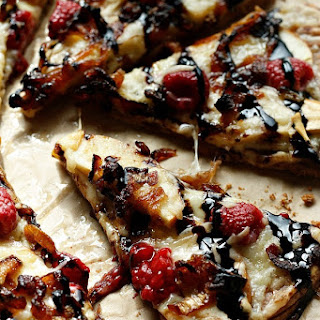 Raspberry, Apple, Gruyere Pizza with a Balsamic Glaze.
