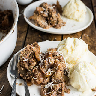 Healthy Apple Crisp with Coconut and Pecans.