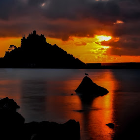 Sunset at the Mount by Brian Pierce - Landscapes Sunsets & Sunrises ( holiday, st michaels mount, sunset, sea, cornwall,  )