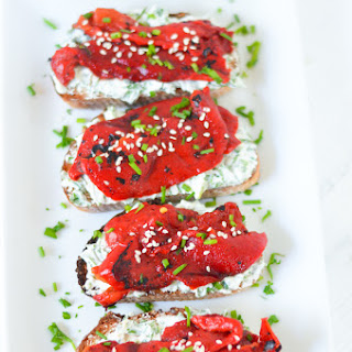 Fire Roasted Bell Pepper Toast w. Herb Goat Cheese