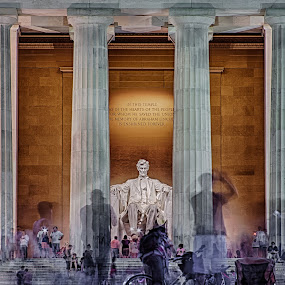 In This Temple by Craig Pifer - Buildings & Architecture Statues & Monuments ( washington d.c., lincoln, memorial, hdr, lincoln memorial, night, long exposure )