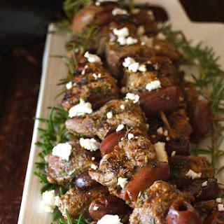 Grilled Rosemary Lamb Kalamata Kebabs