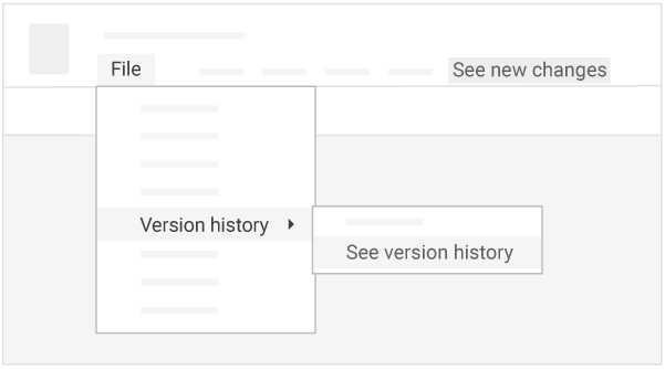 "See version history by clicking ""File,"" with the option to select ""See new changes,"" highlighted at the top right"